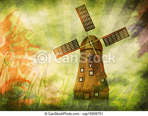 molino de viento, grunge, plano de fondo - csp15909751