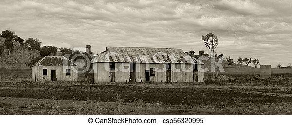 Plantas rurales molino de viento y edificios exteriores - csp56320995