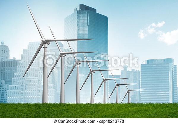 Concepto de energía alternativa con molinos de viento - 3D de interpretación - csp48213778