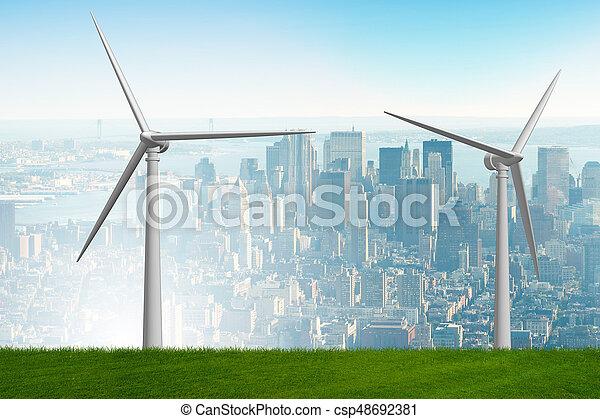 Concepto de energía alternativa con molinos de viento - 3D de interpretación - csp48692381