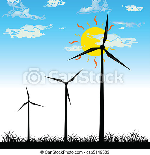 Tres molinos de viento vector silueta - csp5149583