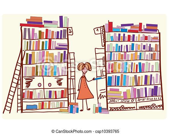 molti, libri, cartone animato, biblioteca, bambino - csp10393765