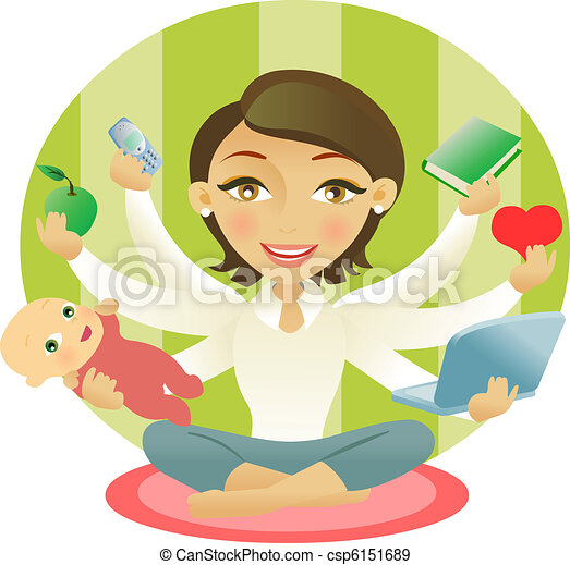 molto, donna, occupato, sei, braccia - csp6151689