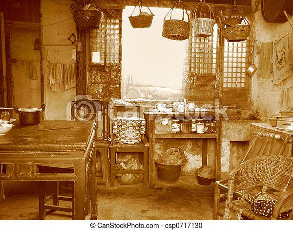 Molto porcellana stile vecchio cucina fotografia d for Cabine vecchio stile