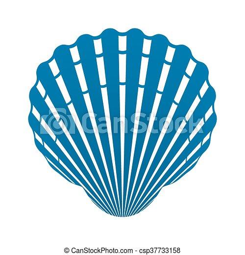 Concha de mar de moluscos signo de icono vector aislado - csp37733158