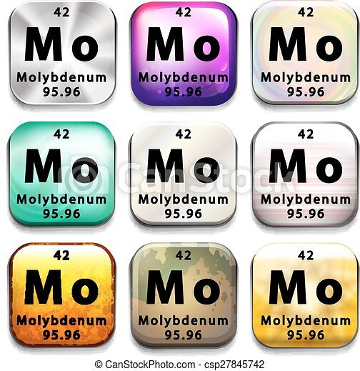 Illustration Of An Element Symbol Of Molybdenum Eps Vector Search