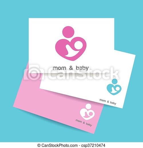 mom and baby logo identity csp37210474