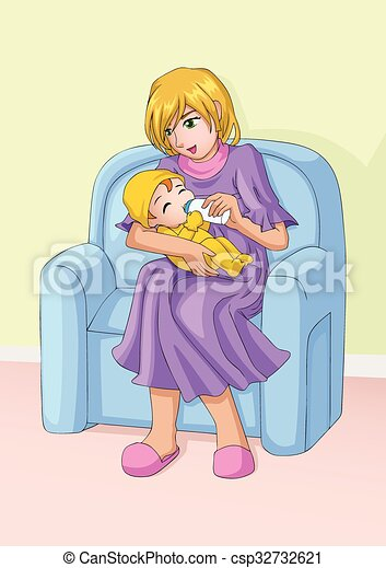 Mom And Child Cartoon Illustration Of A Mother Holds Bottle Of Milk For Her Baby Caring Love Nurture Theme