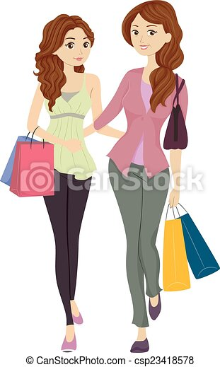 illustration featuring a mom and daughter shopping together rh canstockphoto com mom and daughter love clipart mother and daughter clipart