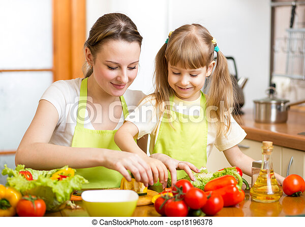 mom and kid girl preparing healthy food - csp18196378
