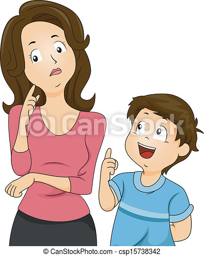 mom and son questions illustration of a confused mom eps vector rh canstockphoto com working mom images clipart mom pic clipart