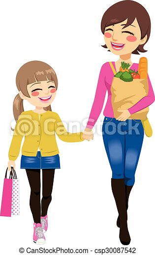 mom daughter shopping together beautiful mom with grocery eps rh canstockphoto com mom and daughter hugging clipart mom and daughter love clipart
