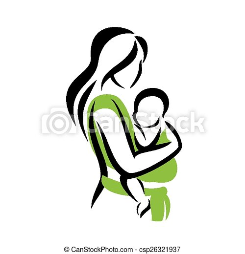 mom holding her baby in a sling vectors search clip art rh canstockphoto com