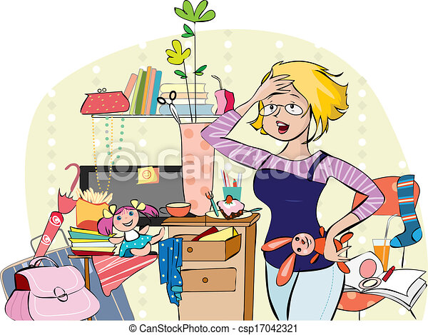 Mom in a messy room vector illustration of a young for Small dirty room 7 letters