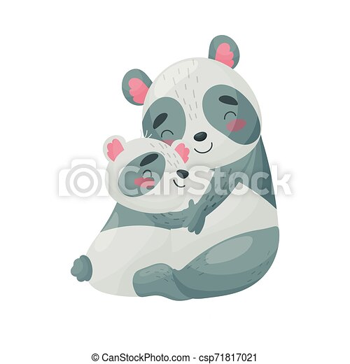 Mom panda and cub. Vector illustration on white background. - csp71817021