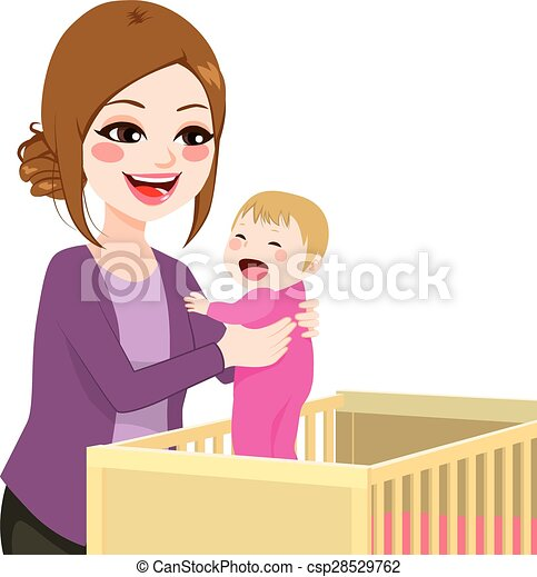 Mom Picking Baby From Crib - csp28529762