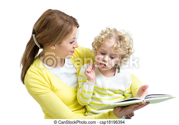 mom reading a book to her kid - csp18196394
