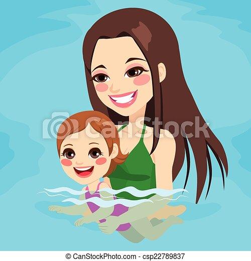 Mom Teaching Baby Girl Swimming Beautiful Brunette Mom At