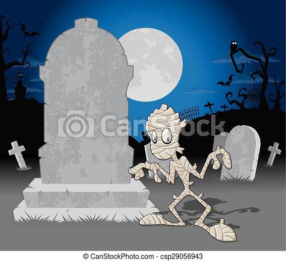Cementerio de Halloween con mamá - csp29056943