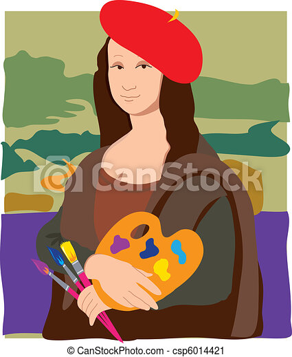 mona lisa artist the mona lisa dressed as an artist vector clip art rh canstockphoto com Mona Lisa Cartoon Eyes Mona Lisa Cartoon Eyes