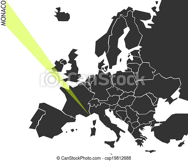 Monaco Political Map Of Europe With Marked State Marker Looks