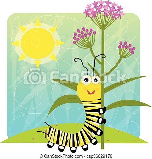 monarca, lagarta, flor, segurando - csp36629170