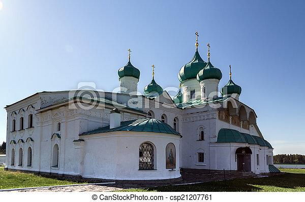 monastère, rue., transfiguration, églises, svir, alexandre - csp21207761