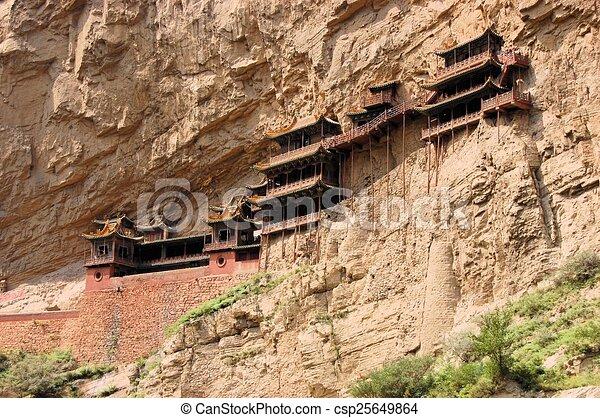 Colgando el templo del monasterio cerca de datos, China - csp25649864