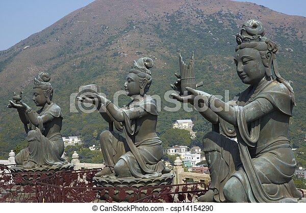 monasterio, lin, buddha, estatuas, po - csp14154290