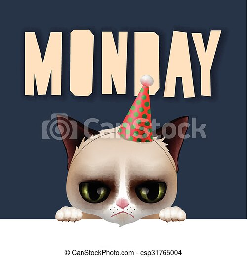 Monday Morning With Cute Grumpy Cat Vector Illustration