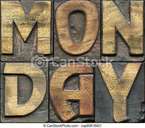 Monday wooden letterpress - csp60818421
