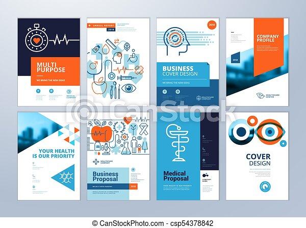 monde médical, brochure, gabarits, annuel, conception, a4, rapport, ensemble, aviateur, taille - csp54378842