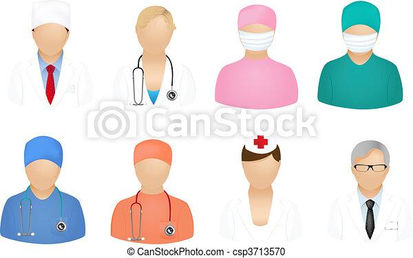 monde médical, gens, icônes - csp3713570