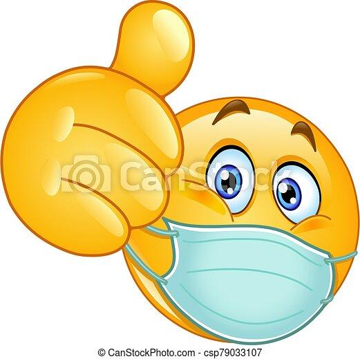 monde médical, pouce haut, masque, emoticon - csp79033107