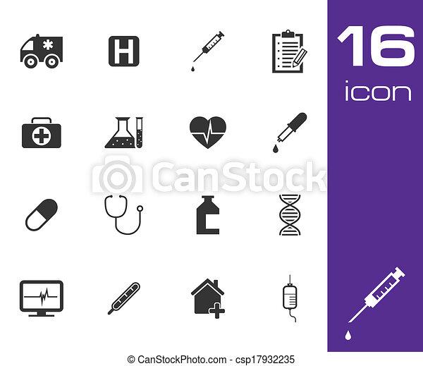 monde médical, vecteur, noir, ensemble, icône - csp17932235