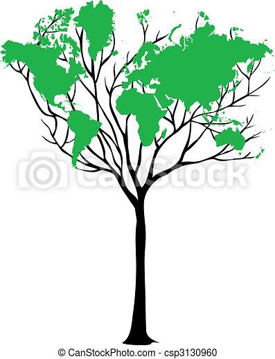 mondiale, arbre, carte - csp3130960