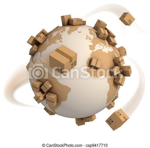 mondiale, boîtes, carton, autour de - csp9417710