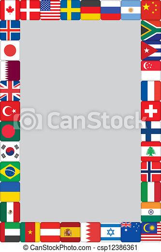 mondiale, cadre, drapeaux, icônes - csp12386361