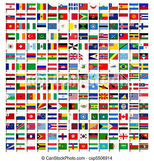 mondiale, drapeau, ensemble, icônes - csp5506914