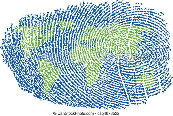 mondiale, empreinte doigt - csp4873522