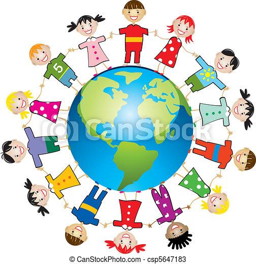 mondiale, enfants, autour de - csp5647183