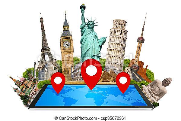 mondiale, moderne, tablette, monuments - csp35672361