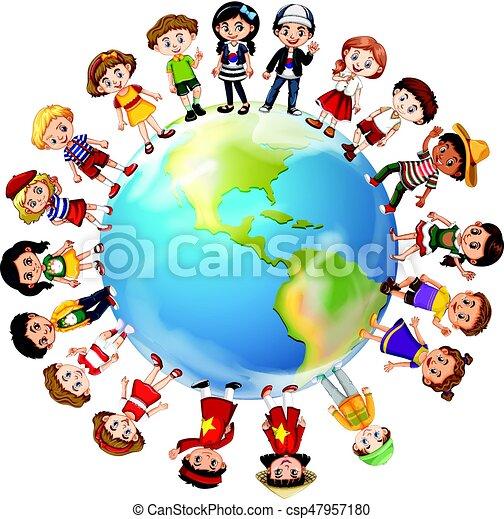 mondiale, pays, autour de, beaucoup, enfants - csp47957180