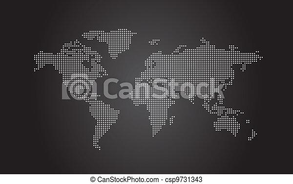 mondiale, pointillé, carte - csp9731343