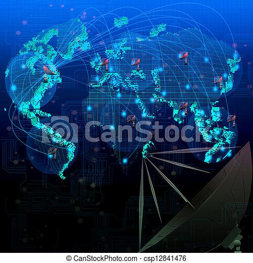 mondiale, satellite, télécommunication - csp12841476