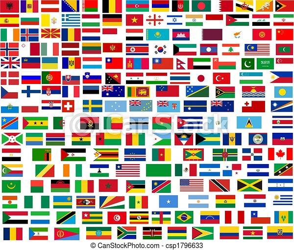mondiale, tout, drapeaux, pays - csp1796633