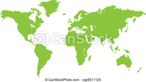 mondiale, vert, continent, carte - csp9511124