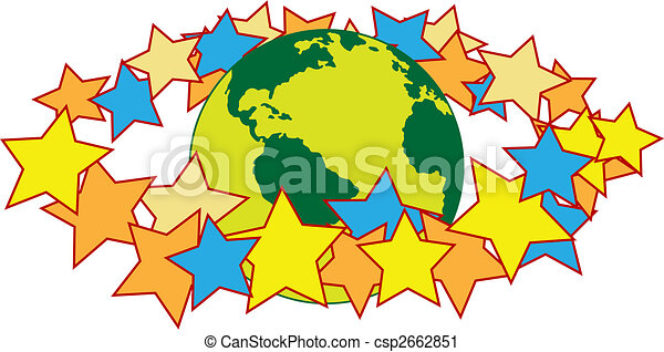 mondo, anello, alone, intorno, stelle - csp2662851