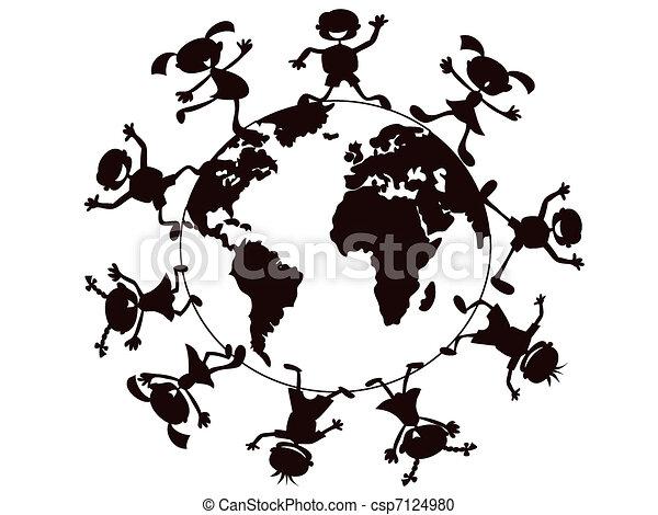 mondo, bambini, giocare intorno - csp7124980