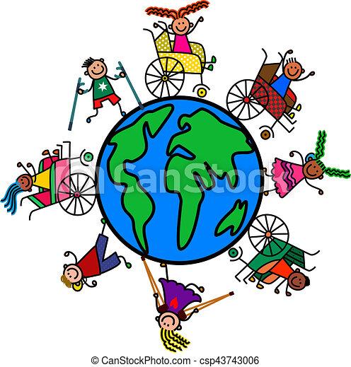 mondo, bambini, incapacità - csp43743006